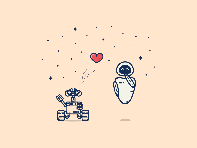 Wall_E and Eve  ^_^ illustration art graphic art disney heart love eve wall-e valentine valentine day lines line art icons icon artwork vector illustrator icon minimal flat illustration graphic design illustration