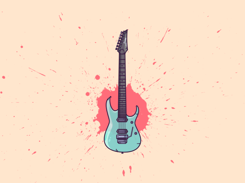 Ibanez 7 String rock and roll metal rock illustrator djent vector guitarist guitar electric guitar ibanez splash icon flat illustration graphic art illustration art graphic design illustration