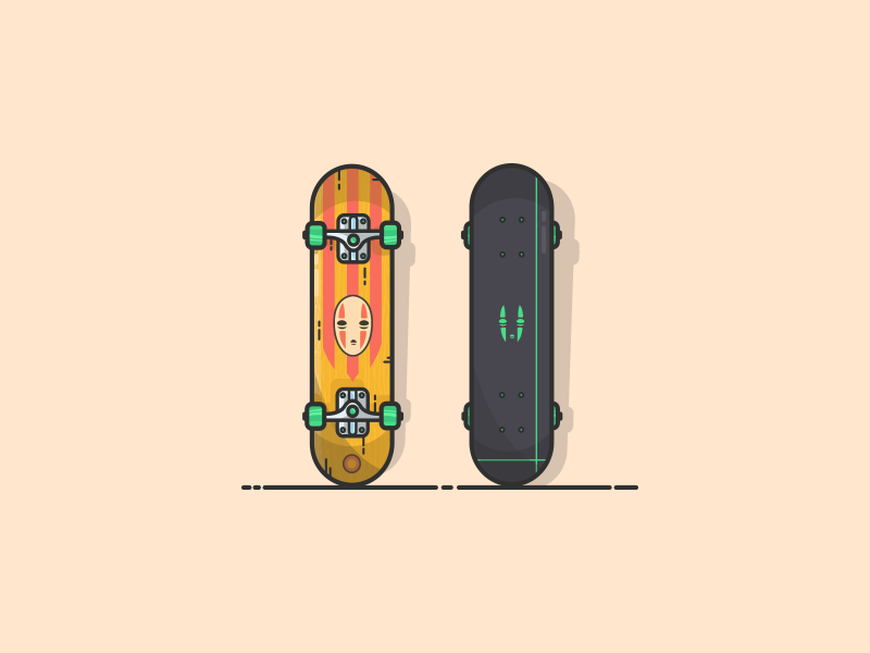 more Skateboard illustration :D skateboard graphics skateboarder skate deck skateboard icon artwork illustrator neon green abstract lines studio ghibli no face ghibli graphic art vector icon flat illustration minimal graphic design illustration art illustration