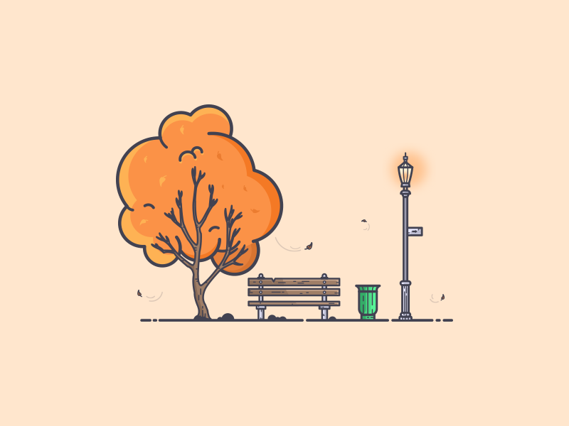 Park in Autumn graphic art tree autumn leaves autumn lamppost bench dribbble invite giveaway dribbble invite new york city central park park vector ui warm colors minimal colors flat illustration illustration art graphic design illustration
