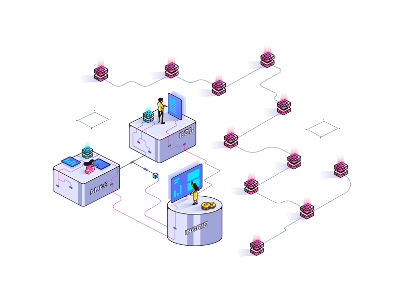 Illustration for Blockchain Startup #2 isometric illustration isometric colors transaction bitcoin ethereum blockchain cryptocurrency start up start-up cryptocurrency blockchaintechnology blockchain ui flat illustration minimal illustration