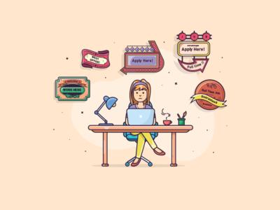 Girl at a desk