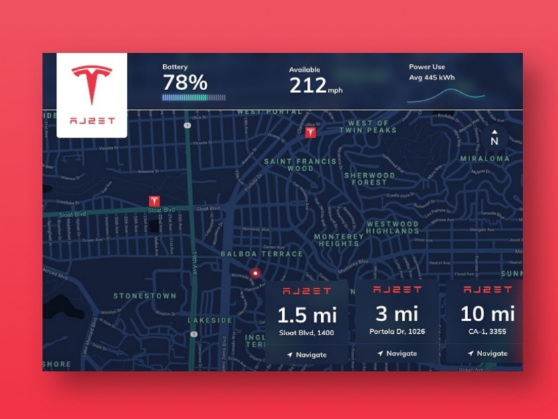 Daily UI #29 Map charger tesla map daily ui 30daychallenge