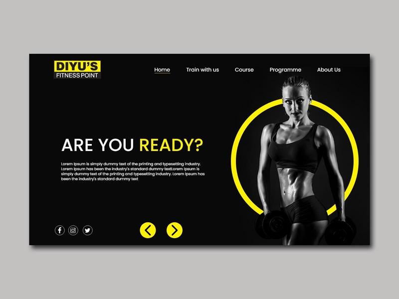 Fitness Website Concept webpagedesign landing page design landing page gym fitness app design webpage webdesign app graphicdesign creativity design photoshop illustrator