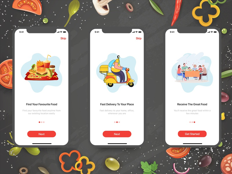 Food Delivery App food and drink food delivery service mobile design food delivery app food delivery food app food ui vector creativity design illustrator