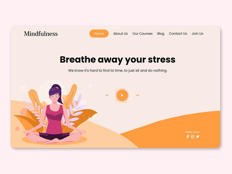 Yoga Website Landing Page Design meditation  website yoga institute website design website landing page design yoga landingpage meditation yoga design illustrator