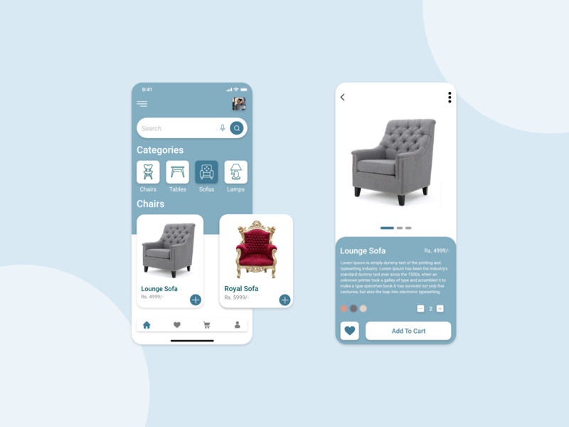 Furniture Shop App ui  ux shoping furniture app design furniture store furniture design furniture app furniture graphicdesign creativity design illustrator