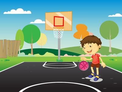 Dribbble Ball game play nature basket ball boy illustrator photoshop