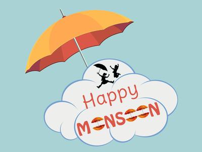 Happy Monsoon umbrella rainy season happy monsoon illustrator photoshop