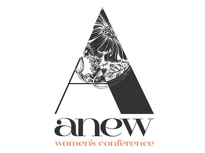 Anew Branding vector illustrator peach gray negative space flower women church conference a lettertype female branding logo