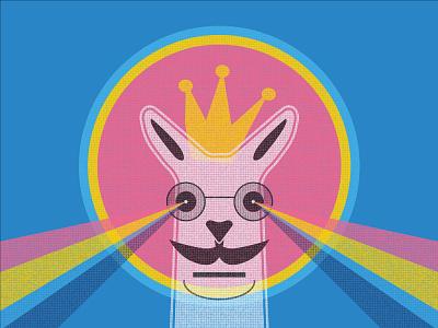 Halftone Hipster Llama hipster mustache glasses illustration halftone screen print lasers rainbow