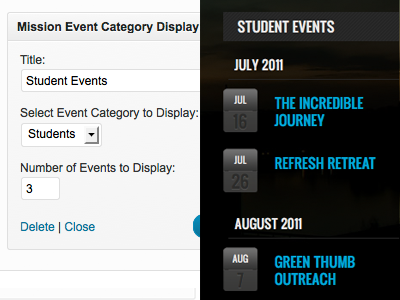 Event Category Widget wordpress genesis mission events calendar list icon widget