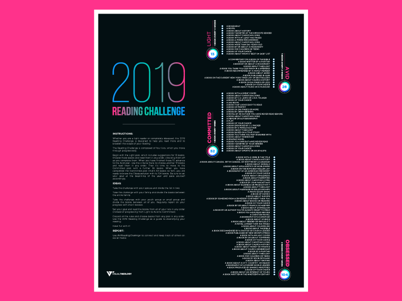Recommeded Reading 2019 vibrant books list poster
