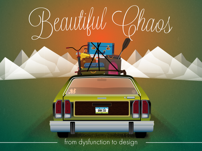 Beautiful Chaos sunset vacation truckster mountains road trip station wagon car family