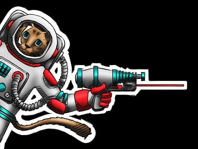 Illustration Work for the Fine Folks at Crimson Trace crimsontrace astronaut gun laser space cat illustration