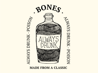 Always Drunk snake drunk design classic bones illustration ecuador quito bottle