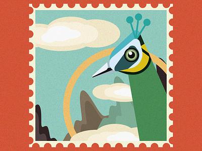 Green peafowl bird ui illustration