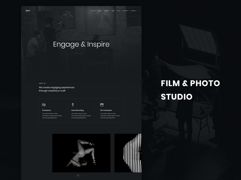 Film & Photo Studio photo studio html5 clean modern web template dark ui web design website production film studio