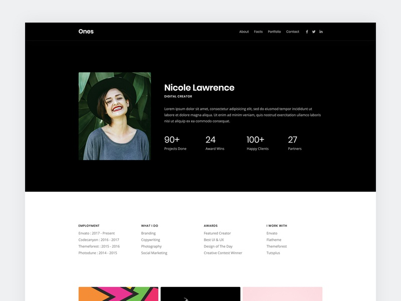 Resume / vCard Template web template modern clean bootstrap html5 template onepage vcard cv resume