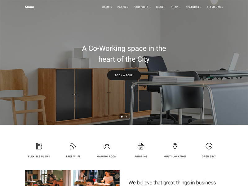 Co-Working Spaces web template business design bootstrap web template ui carousel modern clean co-working html5 template web  design
