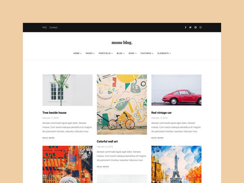Simple Blog Template masonry design ui blog simple clean modern bootstrap html5 web template web design