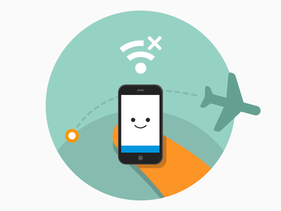 Offline, on the go illustration fox airplane mode offline onboarding android mobile firefox