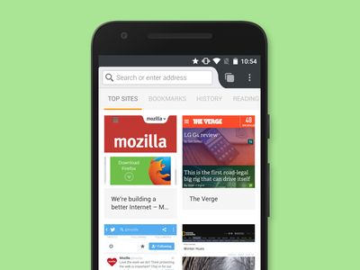 Enlarged grid prototype grid experiment browser ux ui mobile android firefox
