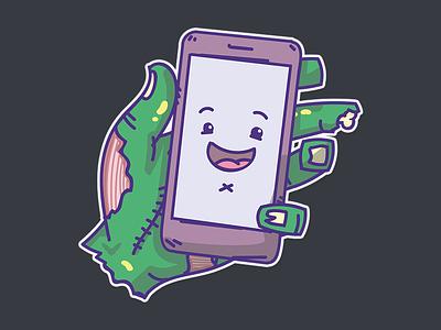 Undead stickers phone hand zombie undead sticker illustration