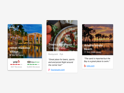 What's nearby? directions reviews location place card summary ux ui mobile