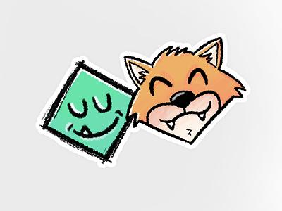 Double Diamond illustration fox diamond firefox sticker