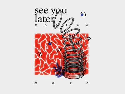 See you later, Summer dear memphis matisse end summer shapes isometric blue red coffee you