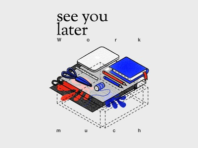 see you later, Summer dear pencil leaves summer shapes red memphis matisse isometric scissors mac book blue