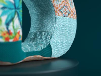 Detail 01 fabric design fabric pattern fabric octanerender octane blue type cinema 4d illustration cgi c4d 3d render