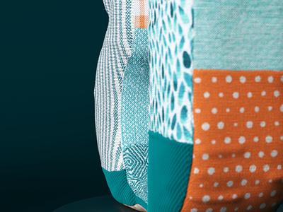 Detail 03 orange blue pattern art pattern design fabric pattern cloth fabric octanerender octane typography type cinema4d cinema 4d lettering illustration cgi c4d 3d render