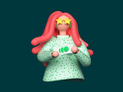 Happy woman hero image webdesigning star glasses glasses ticket woman ginger 3d illustration 3d character character webdesign ui cinema 4d illustration 3d c4d render