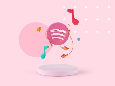 Spotify branding web design hero image hero stars modeling music earphones 3d icon icon octane design cinema 4d cgi illustration 3d c4d render