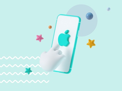 Apple octane render octane webdesign star icon hand heroimage hero apple smartphone branding design cinema 4d cgi illustration 3d c4d render