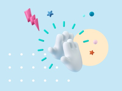 Collaboration stars 3d character character characterdesign colaboration 3d hand toon hand hand high five branding design blue cinema 4d cgi illustration c4d 3d render