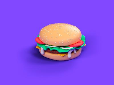 Burger modeling purple burger octane cinema 4d cgi illustration 3d c4d render