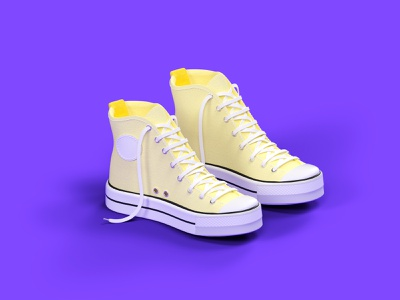 Converse urban art shoes purple octane cinema 4d cgi illustration 3d c4d render