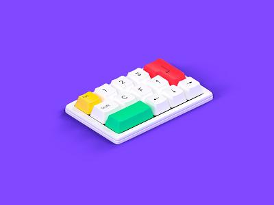 keyboard illustration art modeling isometric purple simplicity apple keyboards purple logo octane cinema 4d cgi illustration 3d c4d render
