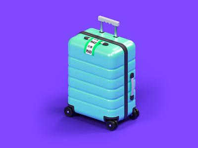Suitcase flight illustration art modeling travel airport isometric purple octane cinema 4d cgi illustration 3d c4d render