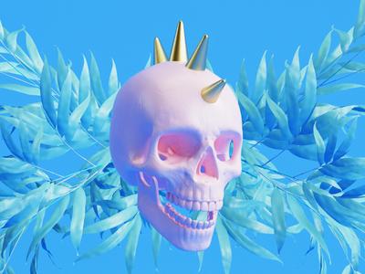 Punk skull gold pink blue bamboo leave vray render cinema 4d punk skull