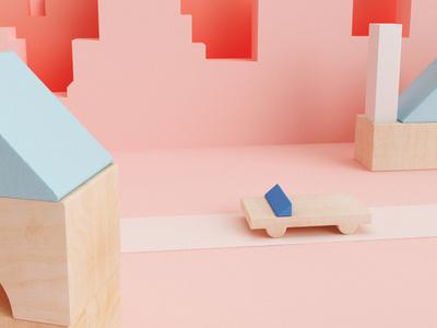 Playing wood car pastel kids scene game toy wood 3d design 3d vray cinema 4d