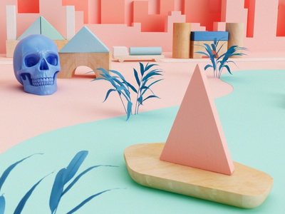 My little world detail game kids toy wood houses plant ship cgi render cinema 4d skull
