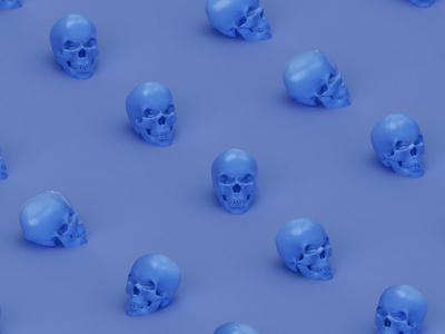 Skull Pattern random isometric purple blue punk pattern game toy cgi render cinema 4d skull