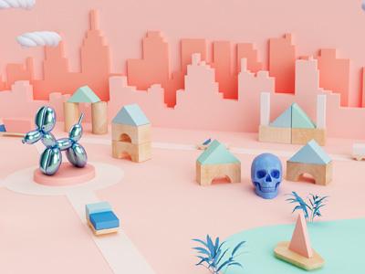 Little World toy game skyline skull render cinema 4d illustration 3d dog wood
