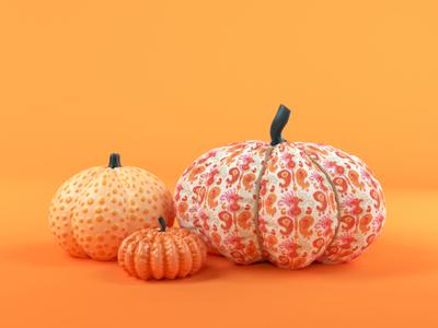 Halloween halloween design rope ceramic octane fabric orange pumpkin cinema 4d illustration cgi c4d 3d render