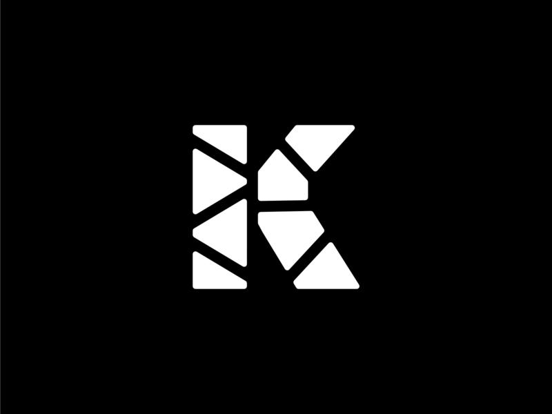Geometric Letter K with Rounded Edges geometric design strong bold edge rounded round design illustration vector monogram logo white and black geometric