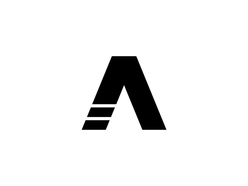 Geometric Minimalistic Letter A line work line stripe icon design logo white and illustration black